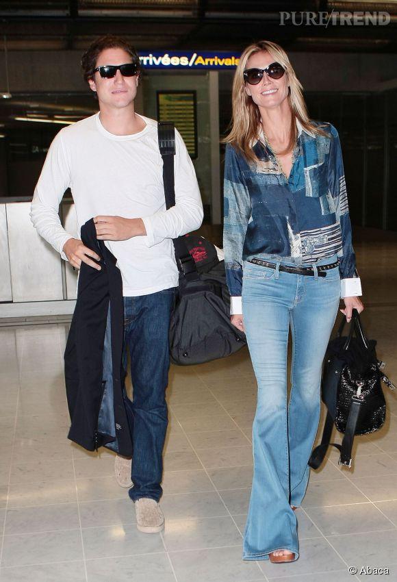 Heidi Klum et Vito Schnabel lors de leur arrivée à Nice pour le Festival de Cannes le 21 mai 2014.
