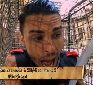 """Baptiste Giabiconi complétement paniqué dans l'une des épreuves de """"Fort Boyard"""" ce samedi 2 juillet 2014 sur France 2."""