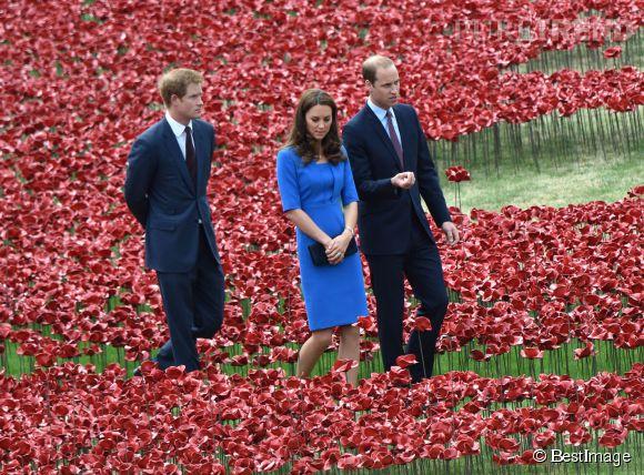 Kate Middleton à la Tour de Londres, accompagnée de son mari William et de son beau-frère Harry, le 5 août 2014.