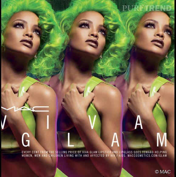 Rihanna et son brushing fluo pour la collection Viva Glam II de MAC.