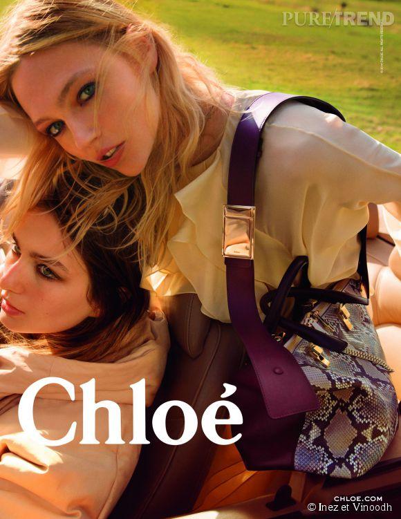 Campagne Chloé Automne-Hiver 2014/2015 avec les mannequins Sasha Pivovarova et Andrea Diaconu.