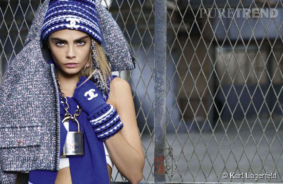 """Campagne Chanel Automne-Hiver 2014/2015 baptisée """"Coco Coach"""" avec le mannequin Cara Delevingne."""