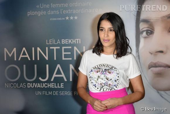"""Leïla Bekhti à la première de """"Maintenant ou Jamais"""" à Paris."""