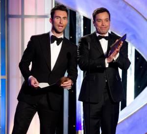 Adam Levine et Jimmy Fallon lors des Golden Globes 2014.