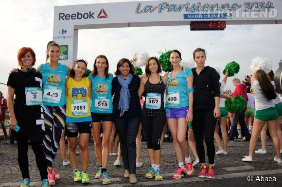 Fauve Hautot, Laury Thilleman, Salomé Stévenin, Anne Hidalgo, Nathalie Péchalat, Frédérique Bel, Zoé Félix au départ de la course La Parisienne 2014, organisée ce dimanche 14 septembre 2014 à Paris.