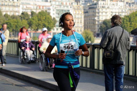 Karine Le Marchand lors de la course La Parisienne 2014, organisée ce dimanche 14 septembre 2014 en plein Paris.
