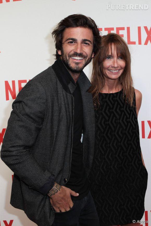 Axelle Laffont et Cyril Paglino, une affaire qui dure, lookés et amoureux pour la soirée Netflix du 15 septembre 2014.