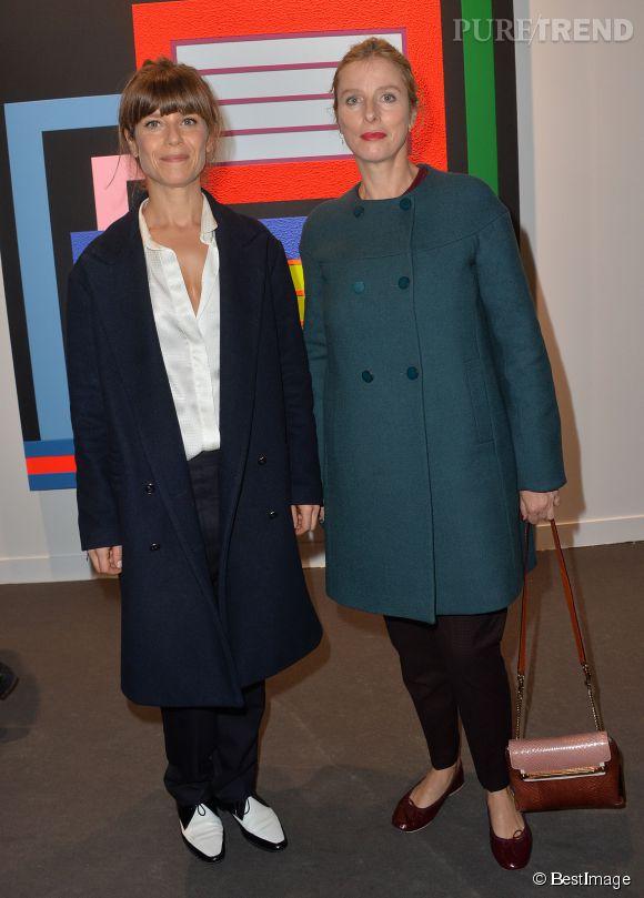 Marina Foïs et Karin Viard et leurs looks rétro pour la FIAC 2014.