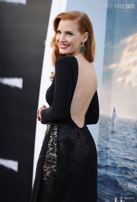 """Jessica Chastain, éblouissante rouquine pour la première d'""""Interstellar"""" à Los Angeles, le 26 octobre 2014."""