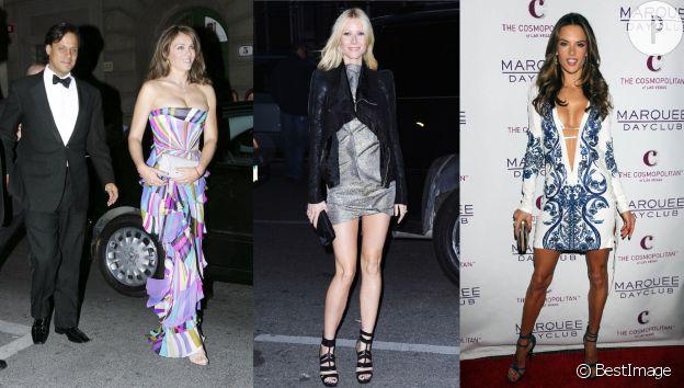 De gauche à droite : Liz Hurley et son (ancien) époux Arun Nayar en 2007, Gwyneth Paltrow en 2010 et Alessandra Ambrosio en 2011.