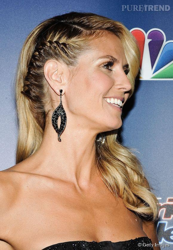 Envie d\u0027une coiffure rock\u0027n\u0027roll pour votre mariage ? Adoptez la tempe  tressée comme Heidi Klum et laissez les longueurs libres, placées sur une  épaule.