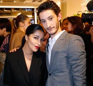 Leila Bekhti et Pierre Niney à l'inauguration de la boutique Longchamp sur les Champs-Elysées le 4 décembre 2014.