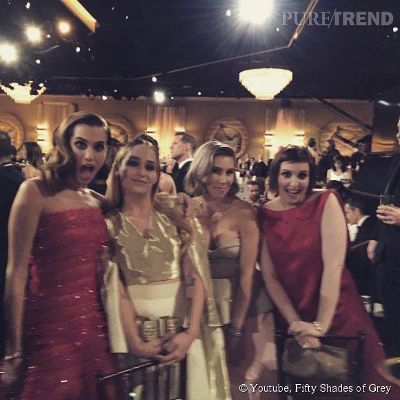 Lena Dunham retrouve ses copines à la soirée des Golden Globes 2015.
