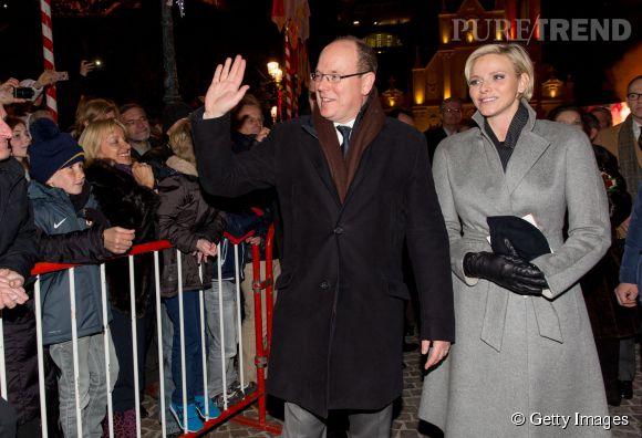 Le prince Albert et la princesse Charlène de Monaco lors des festivités de la Sainte-Dévote à Monaco le 26 janvier 2015.