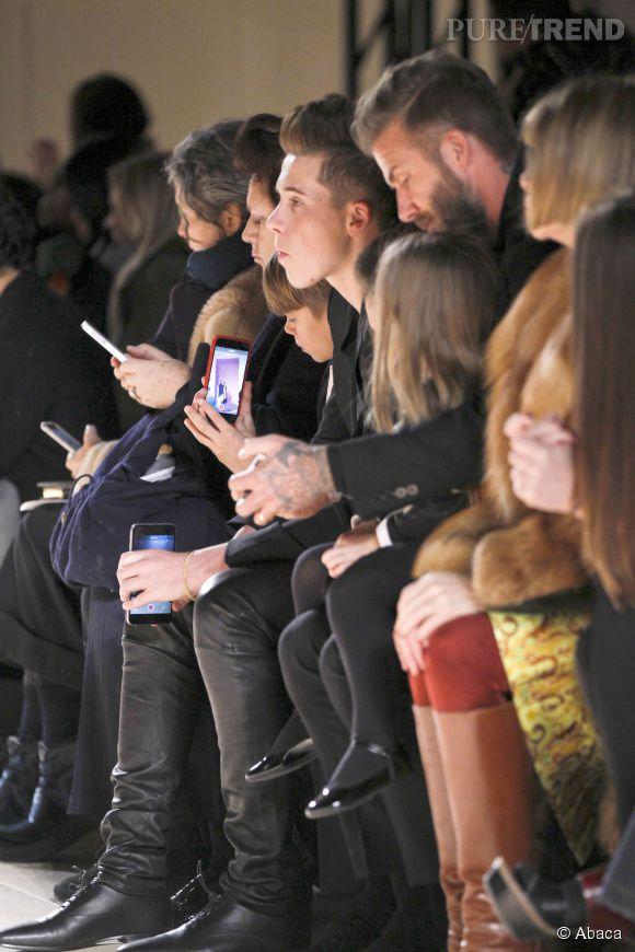 La famille Beckham au défilé Victoria Beckham Automne-Hiver 2015/2016 à New York le 15 février 2015.
