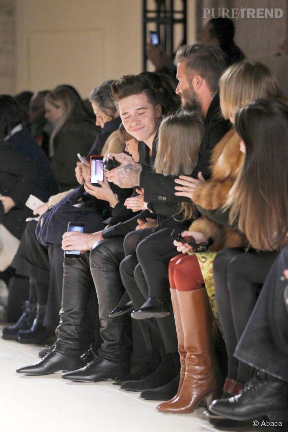 Les Beckham de père en fille au défilé Victoria Beckham Automne-Hiver 2015/2016 à New York le 15 février 2015.