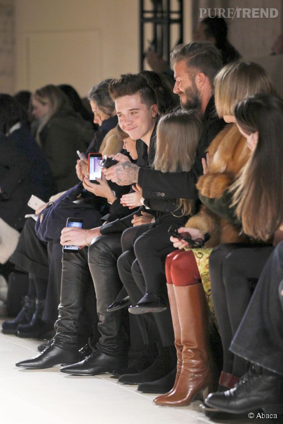 Les Beckham sur leur 31 au défilé Victoria Beckham Automne-Hiver 2015/2016 à New York le 15 février 2015.