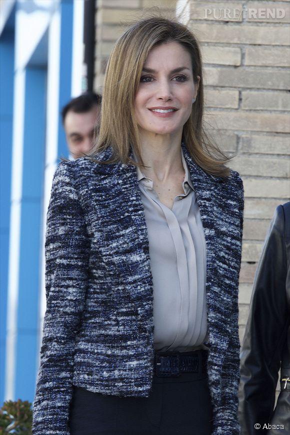 Letizia Ortiz, reine engagée devant les locaux madrilènes de l'ONU.