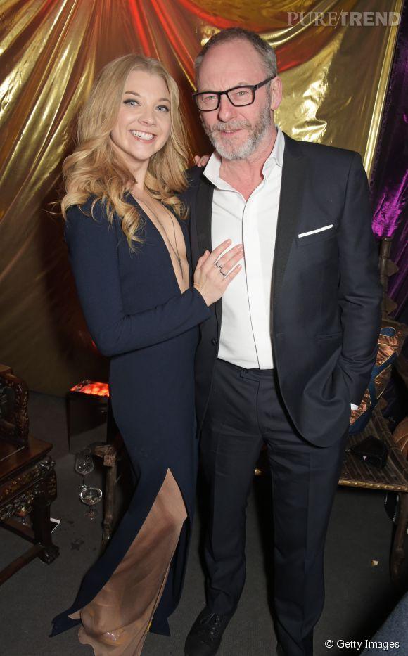 """Natalie Dormer aux côtés du Liam Cunningham, alias Davos Mervault (""""le Chevalier Oignon"""")."""