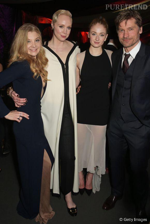 """Natalie Dormer, Gwendoline Christie, Sophie Turner et Nikolaj Coster-Waldau étaient mercredi soir à Londres pour la promotion de """"GOT"""" saison 5."""