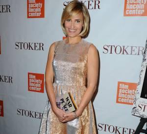 """Judith Godrèche opte pour une petite robe de midinette pour la promotion de """"Stoker""""."""
