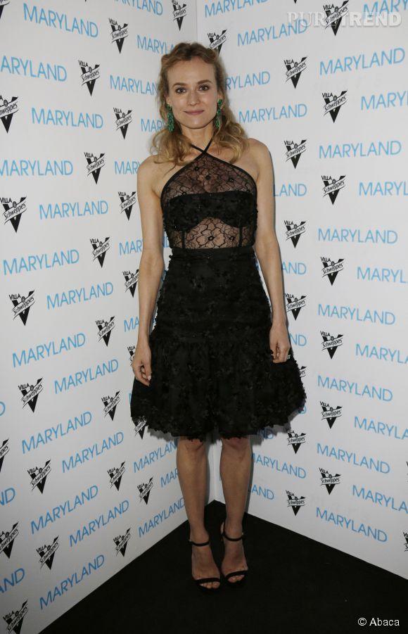 """Toujours aussi sexy pour l'after party, Diane Kruger tente le total look noir avec des sandales """"Claudette"""" Jimmy Choo ."""