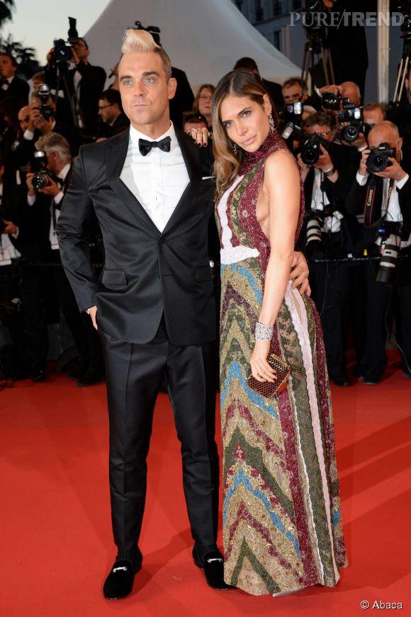 Robbie Williams et sa femme Ayda Fields, plus amoureux que jamais sur le tapis rouge du Festival de Cannes samedi 16 mai 2015.