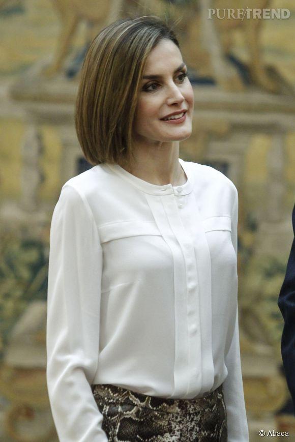 Letizia Ortiz nous montre sa sublime coiffure, le 22 juin au palace El Pardo.