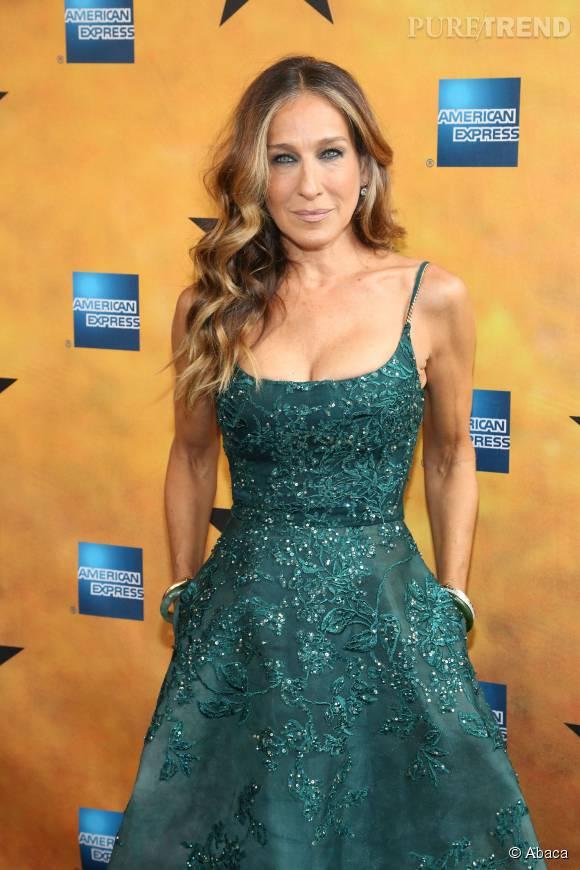 Sarah Jessica Parker, parfaitement mise en valeur dans cette robe haute couture Elie Saab.