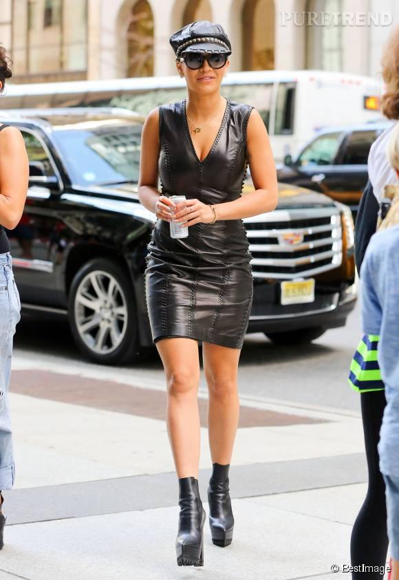 """Rita Ora, toujours plus sexy à New York pour la promotion de son titre """"Body on me""""."""