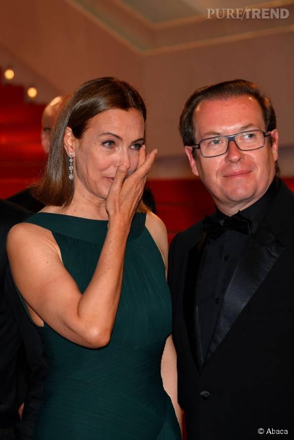 """Très fière du travail accompli par son fils, Carole Bouquet n'a pu retenir ses larmes lors del aprésentation du film le """"Petit Prince""""."""