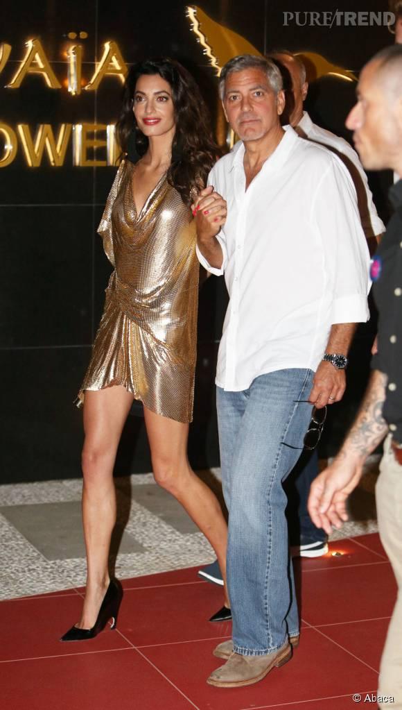 George et Amal Clooney lors de la soirée de lancement de la tequila Casamigos à Ibiza le 23 août 2015.