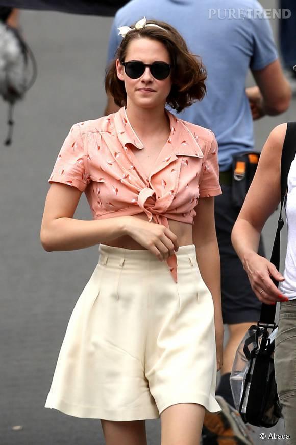 Kristen Stewart, éblouissante et sexy sur le tournage du prochain film de Woody Allen.