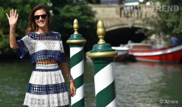 Alessandra Ambrosio lors de son arrivée à Venise.