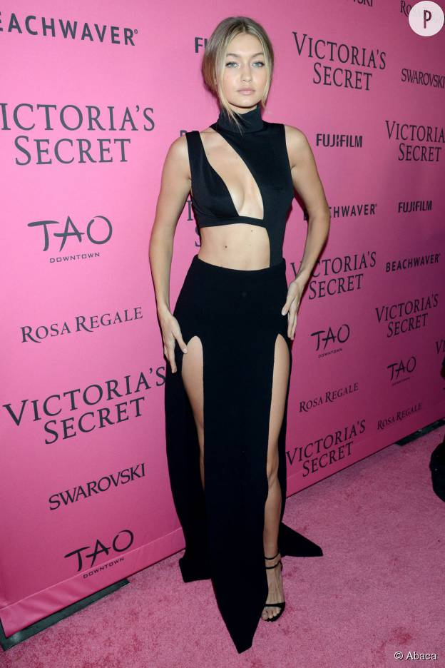 Gigi Hadid en robe découpée House of CB àl'after party du show Victoria's Secret 2015 à New York le 10 novembre.