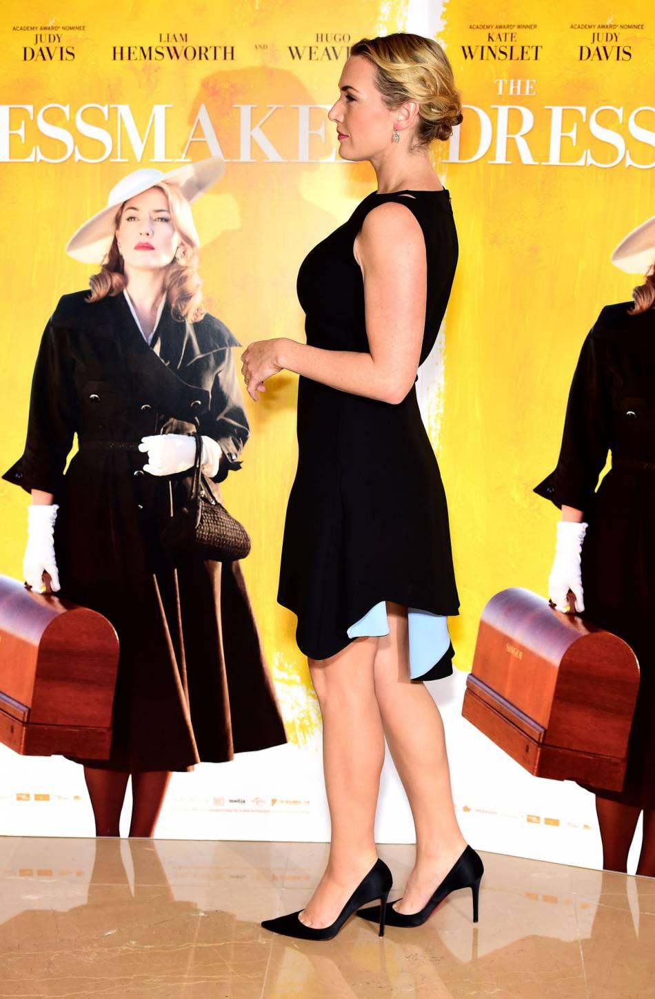 Kate Winslet dévoile ses jambes à Londres le 11 novembre 2015.