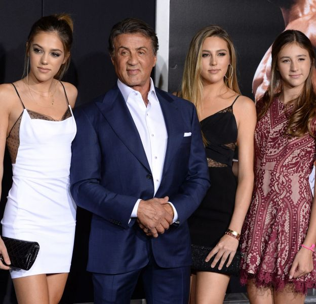 Sylvester Stallone avec ses filles Sistine Rose, Sophia Rose et Scarlett Rose.