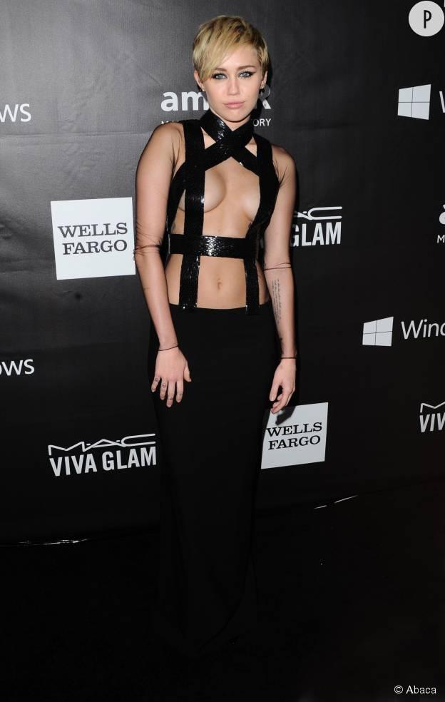 Miley Cyrus au gala de l'amfAR à Los Angeles, en octobre 2014.