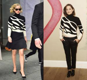 Jennifer Lawrence vs Marion Cotillard : le pull black & white Dior