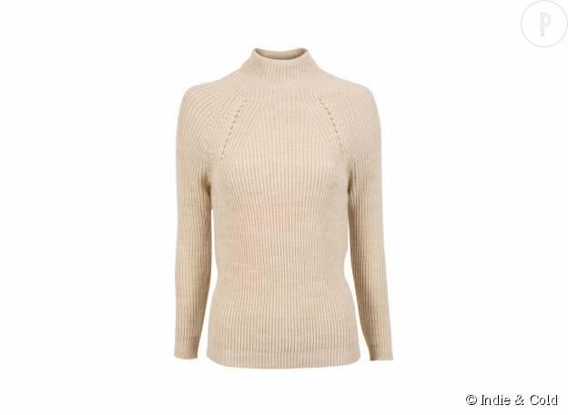 Pull en laine mélangée Indie & Cold, 64€.