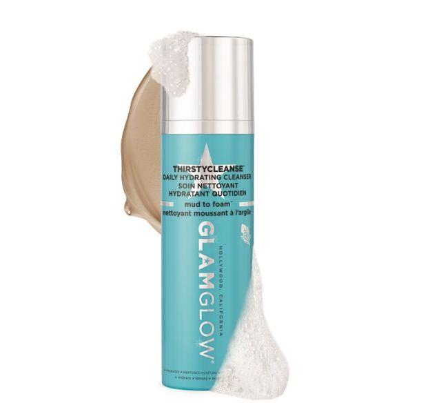 Thirsty Cleanse de GlamGlow, le soin nettoyant à l'argile doux avec notre peau.