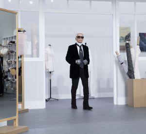 Karl Lagerfeld lors du dernier show Chanel Haute Couture.