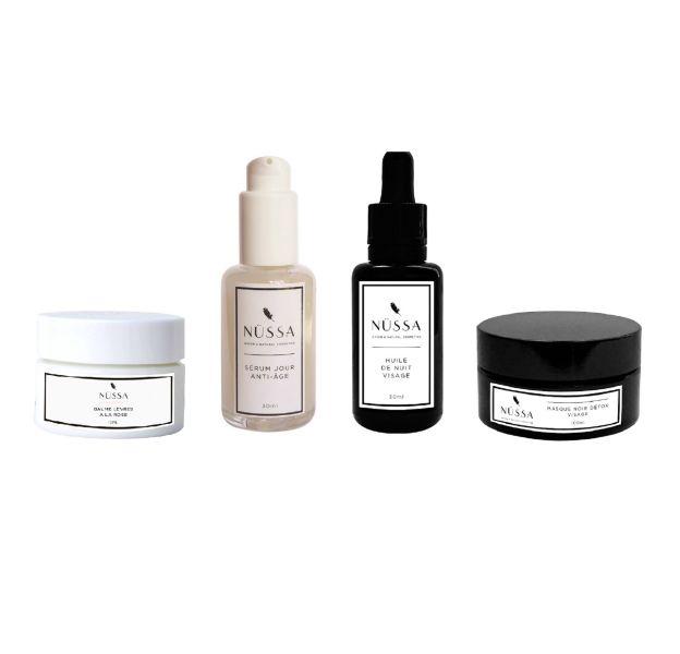 La marque Nüssa propose des deux gammes de soins végans : blanche pour le jour, noire pour la nuit.