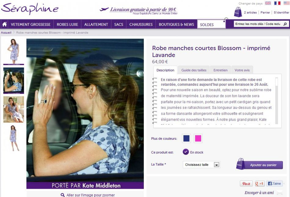 Après son premier accouchement, Kate Middleton portait déjà une robe Séraphine bleue et fleurie coûtant 64 euros.
