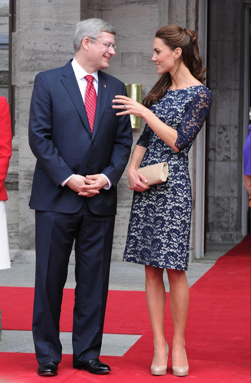 Kate Middleton lors de sa première venue au Canada, trois mois seulement après son mariage.