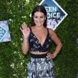 """Lea Michele, nominée pour son rôle dans la série """"Scream Queens"""" a fait sensation face aux photographes."""