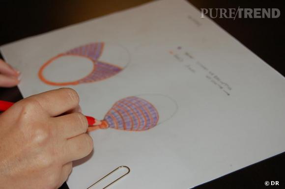 L'idée d'un nouveau bijou est retranscrite sur papier.