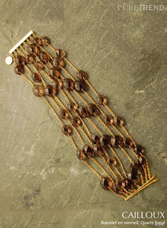 Bracelet Cailloux de la collection précédente. Vermeil et quartz fumé.