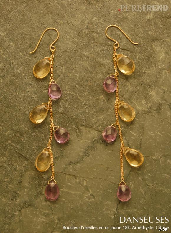 Boucles d'oreilles Danceuses de la collection précédente. Améthyste et citrine.