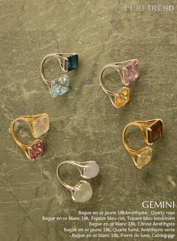 Bagues Gemini de la collection précédente.